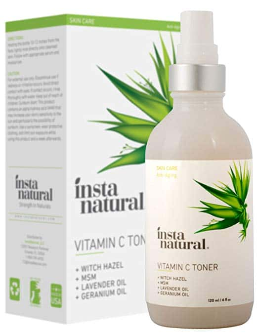 InstaNatural Vitamin C Facial Toner - Anti Aging Face Spray with Witch Hazel - Pore Minimizer & Calming Skin Treatment for Sensitive, Dry & Combination Types - Prep for Serums & Moisturizer