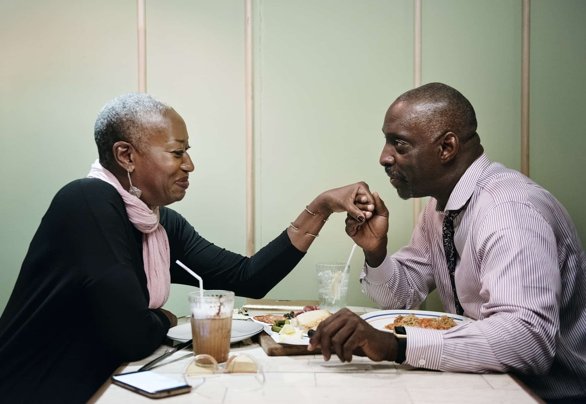African couple on a date