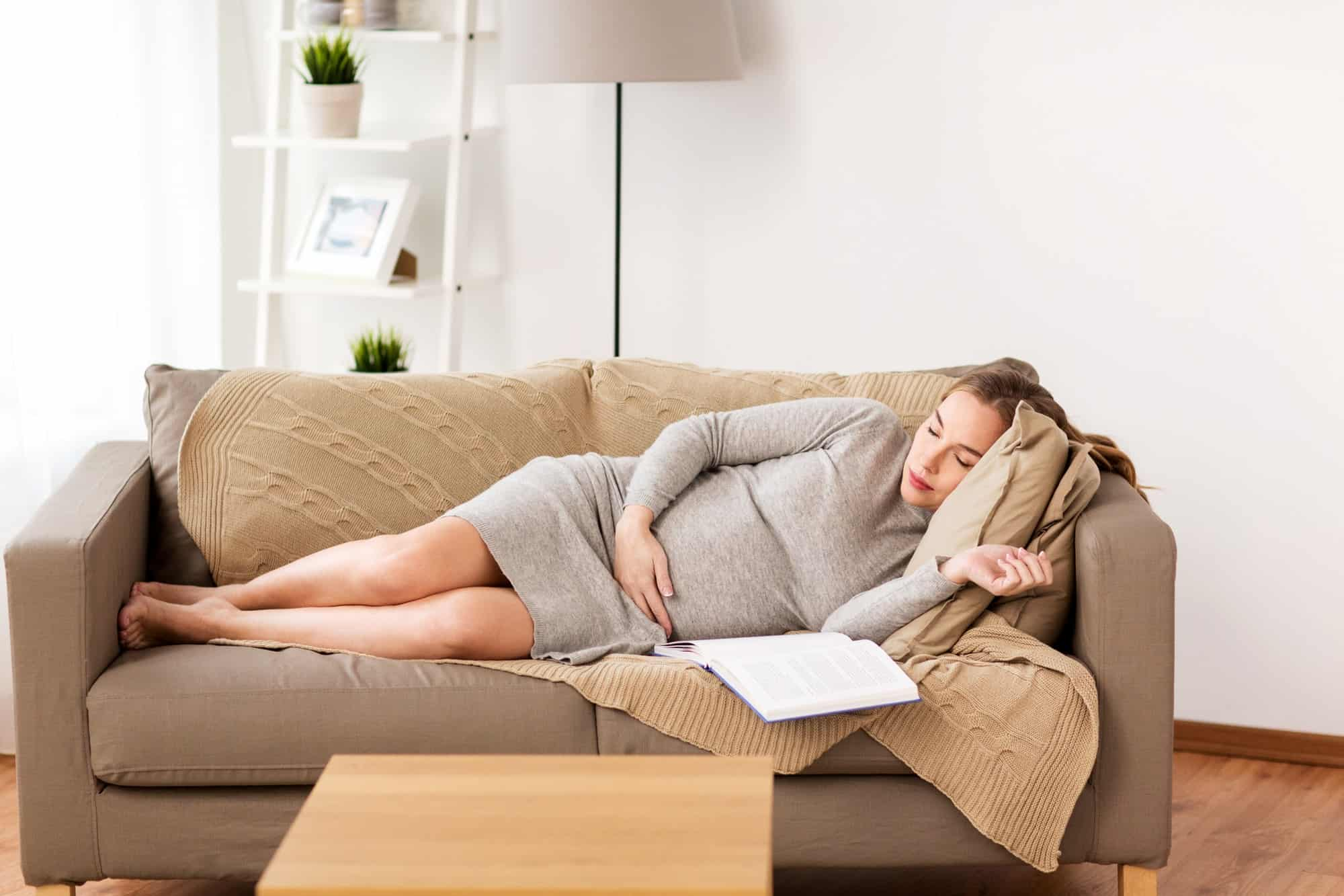 happy pregnant woman resting