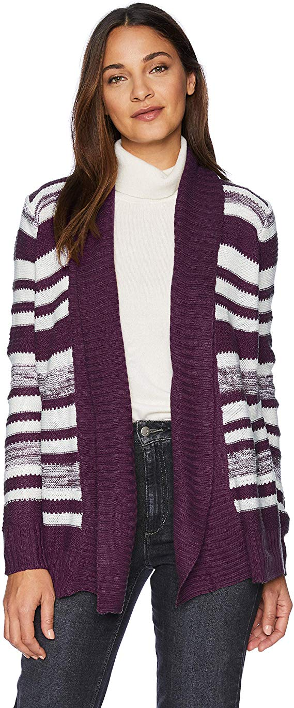 Jason Maxwell Women's Striped Marled Cardigan Sweater