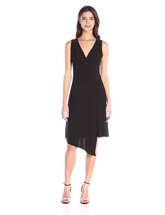 Sleeveless Asymmetrical Faux-Wrap Dress