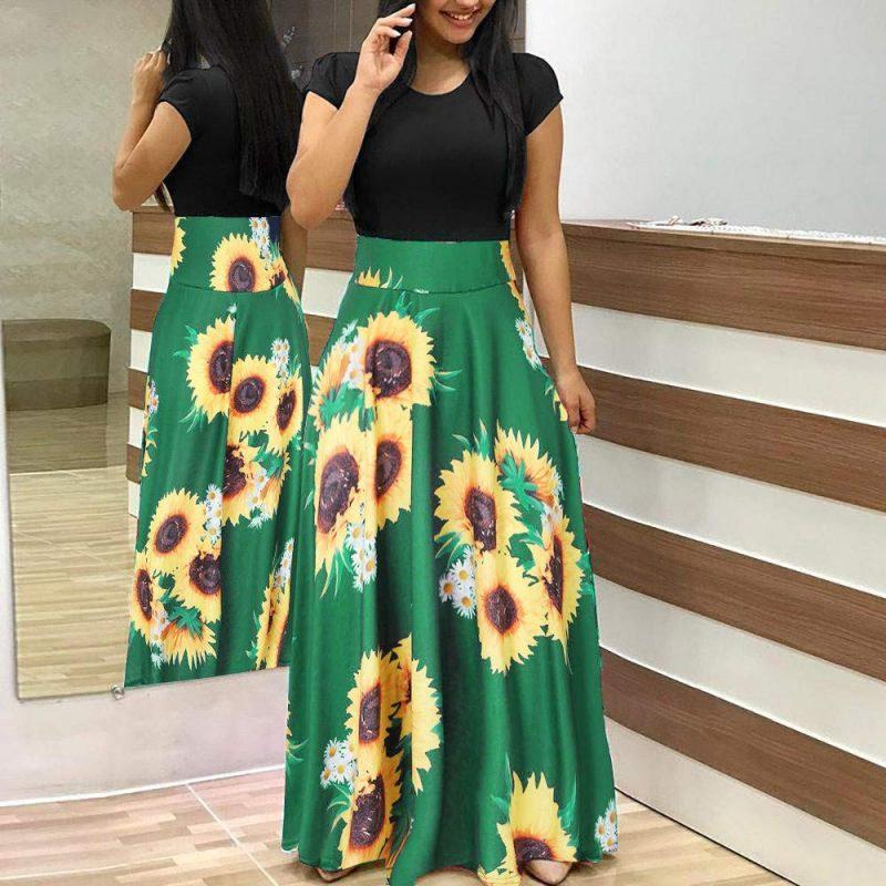 Women Short Sleeve Sun flower Print Dress