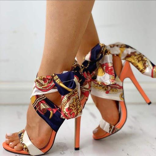 Ribbon Lace up Heels