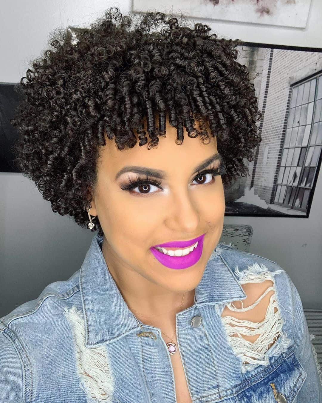 Short natural hair styling