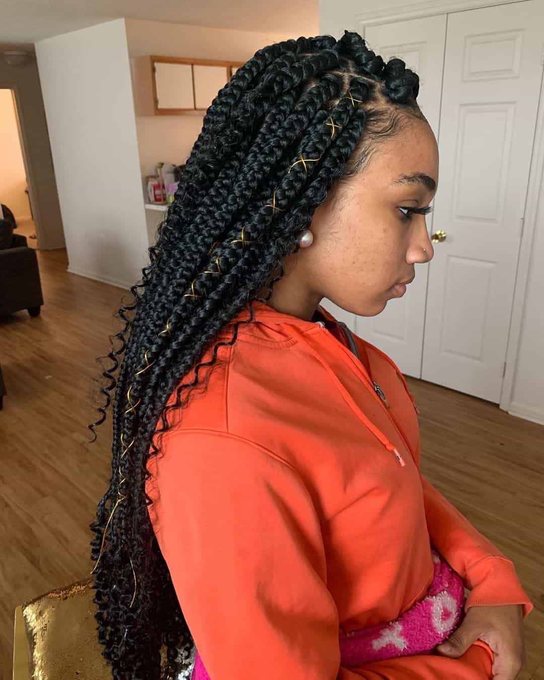 Top Bun Designed Braid Hairstyle Box Braids