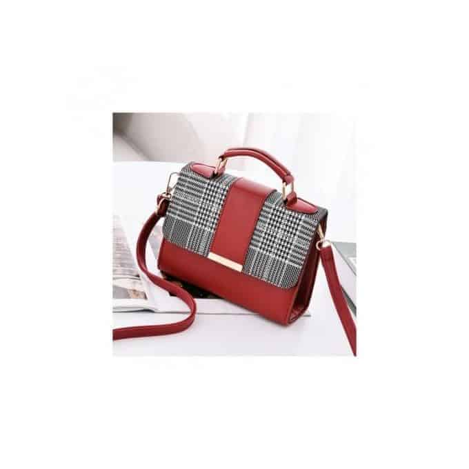 Portable Plaid Leather Handbag
