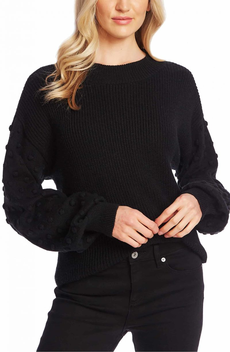Puff Sleeve Bobble Ribbed Sweater