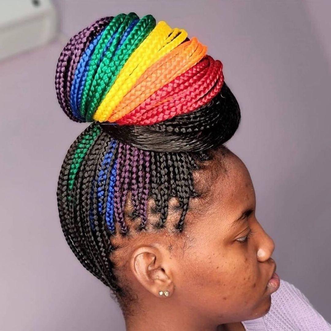 Classy Rainbow High Bun Knotless Braid