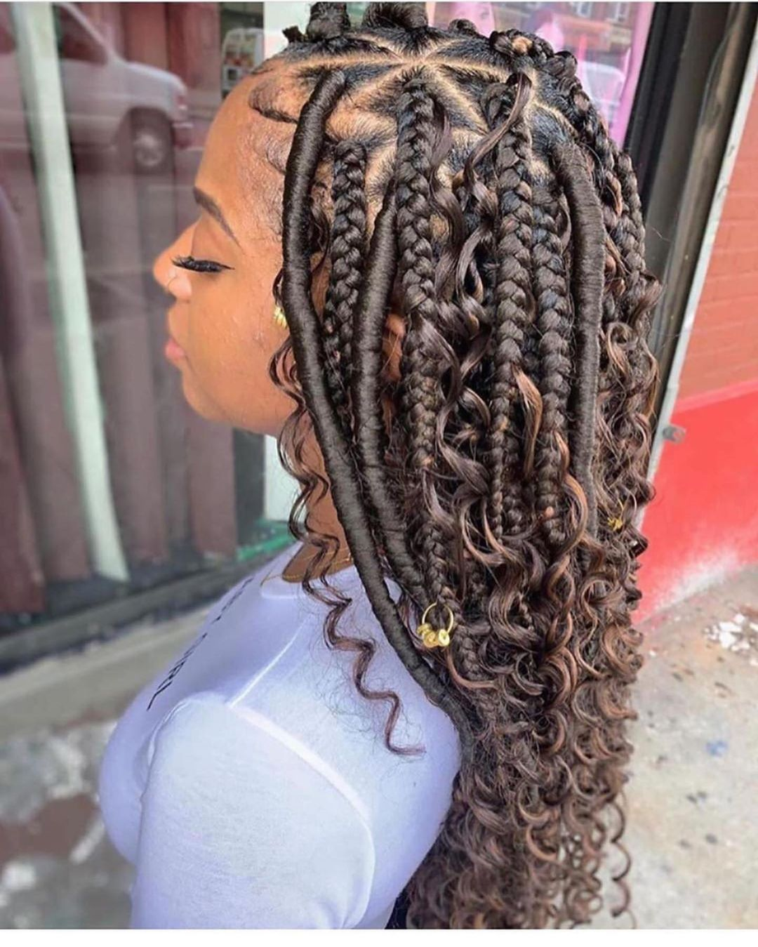 Mixture Of Knotless Braid With Curls