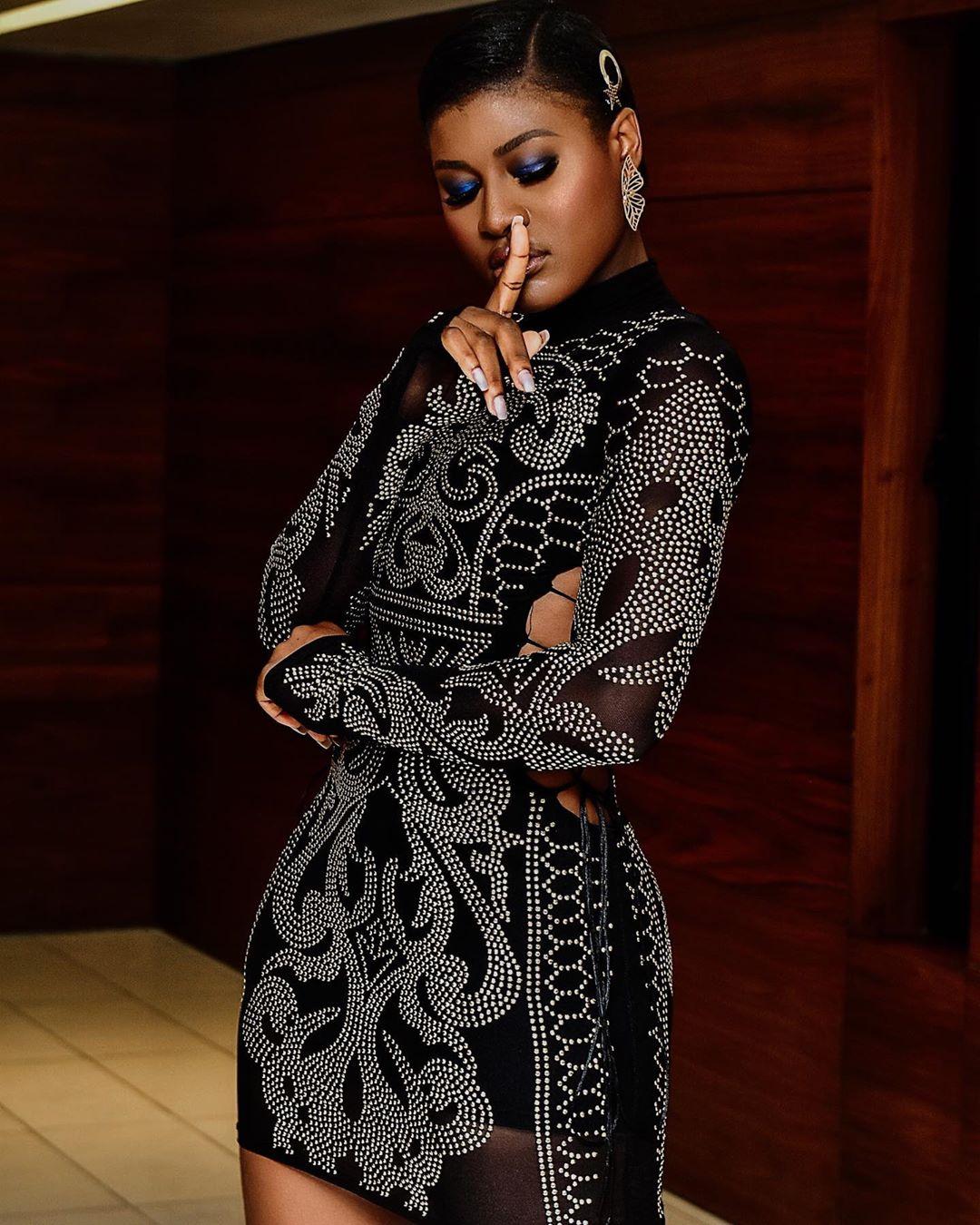 Alex Asogwa Unique Black Dress Is Fashionable Enough For All Event