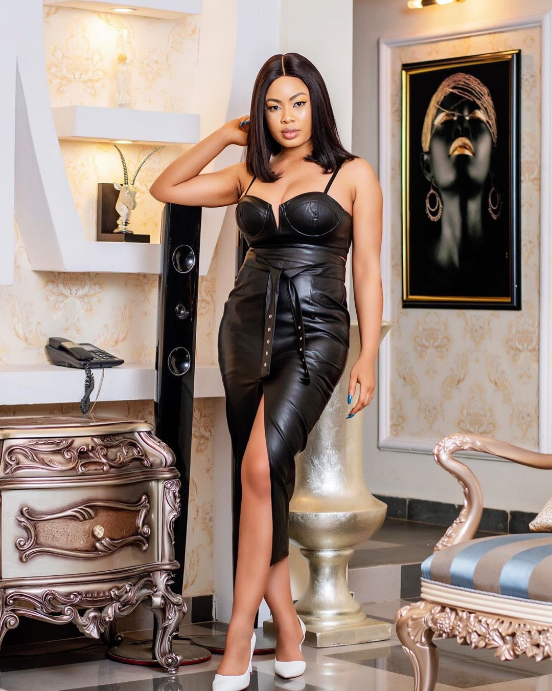 Nina Ivy Keeps IT on The Low With A Glittering Lovely Black Dress
