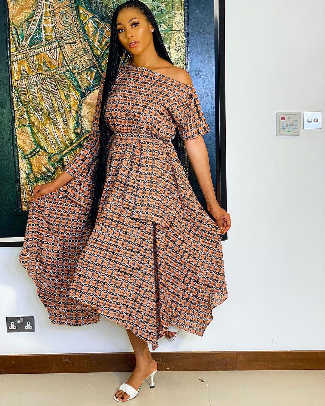 Falling Sleeve Ankara Flare Dress