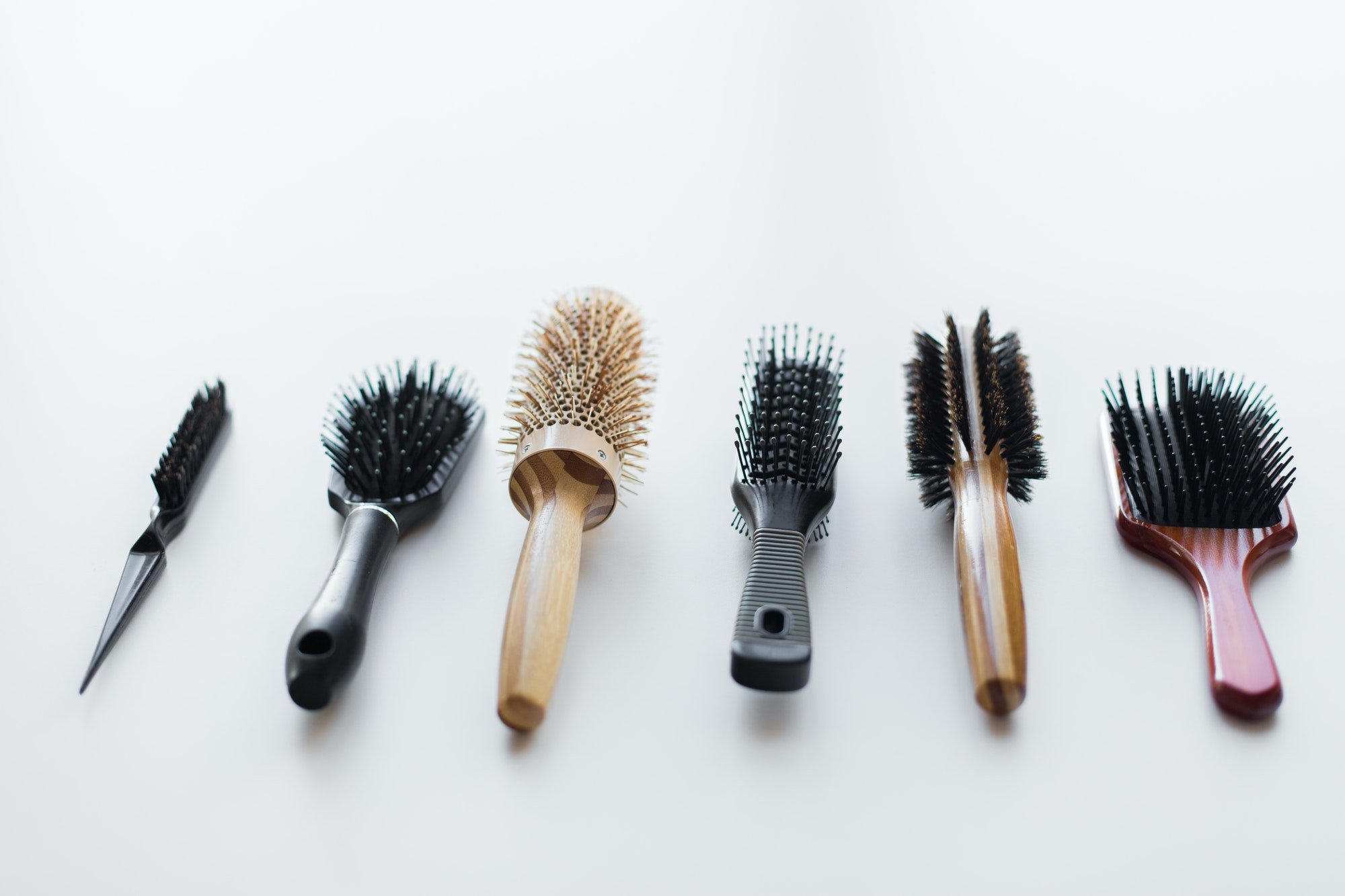 different hair brushes or combs