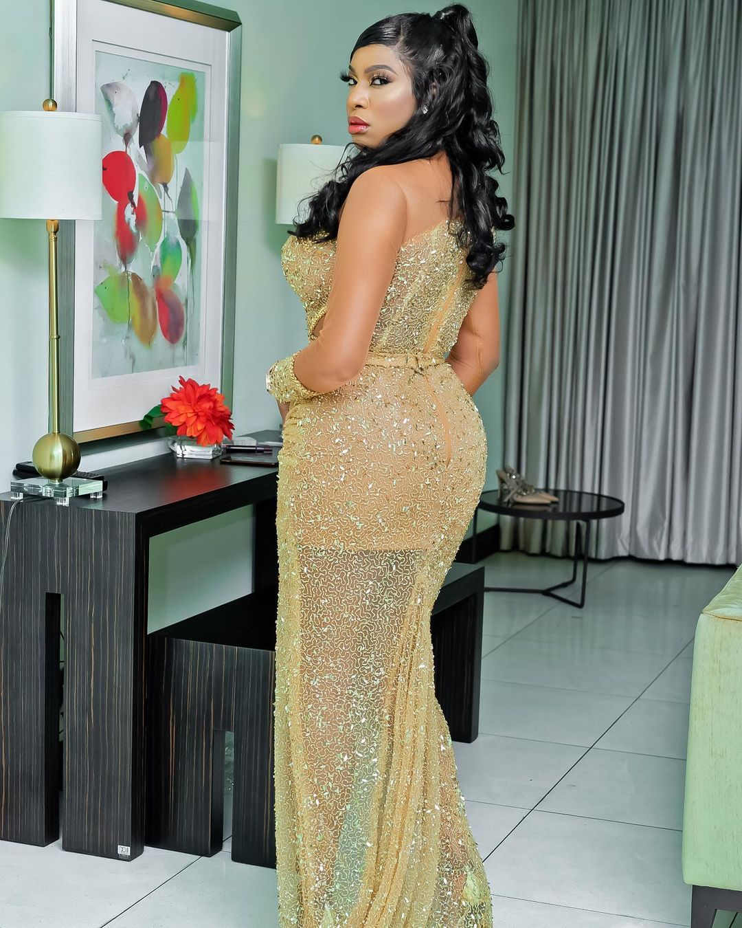Chika Ike Look Gorgeous While Striking A Back Hip Thrust Pose