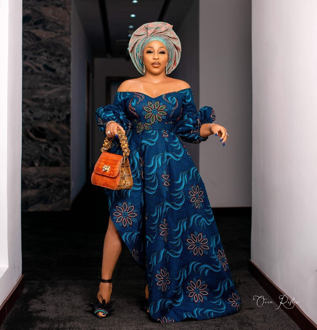 Off Shoulder Ankara Style With Vintage Sleeve And Side Slit