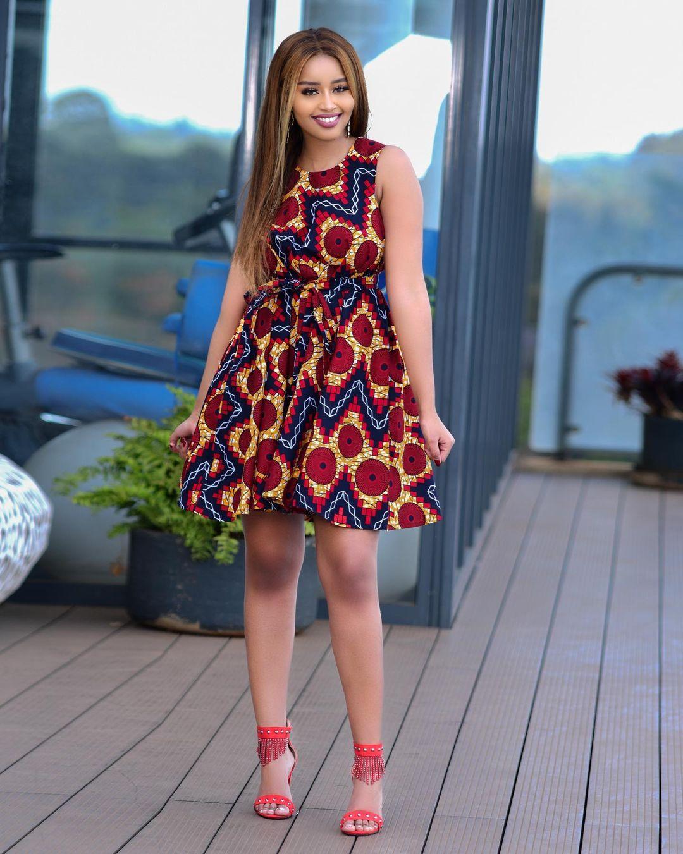 Short Sleeve Ankara Gown With Robe Waist
