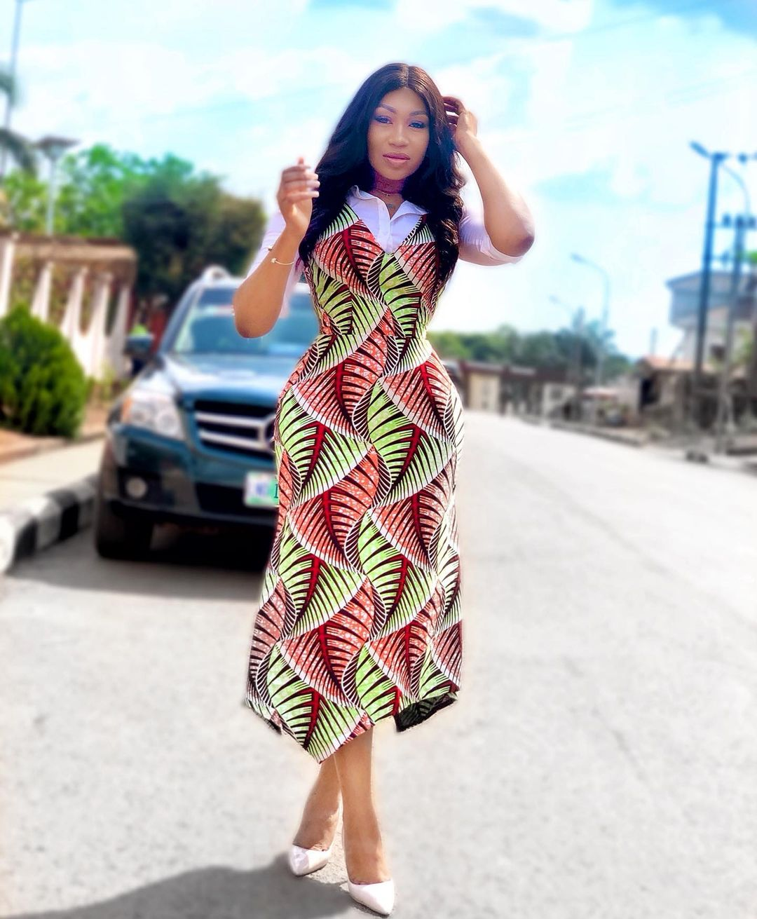 Ankara Style With Material Sleeve And Simple Frock