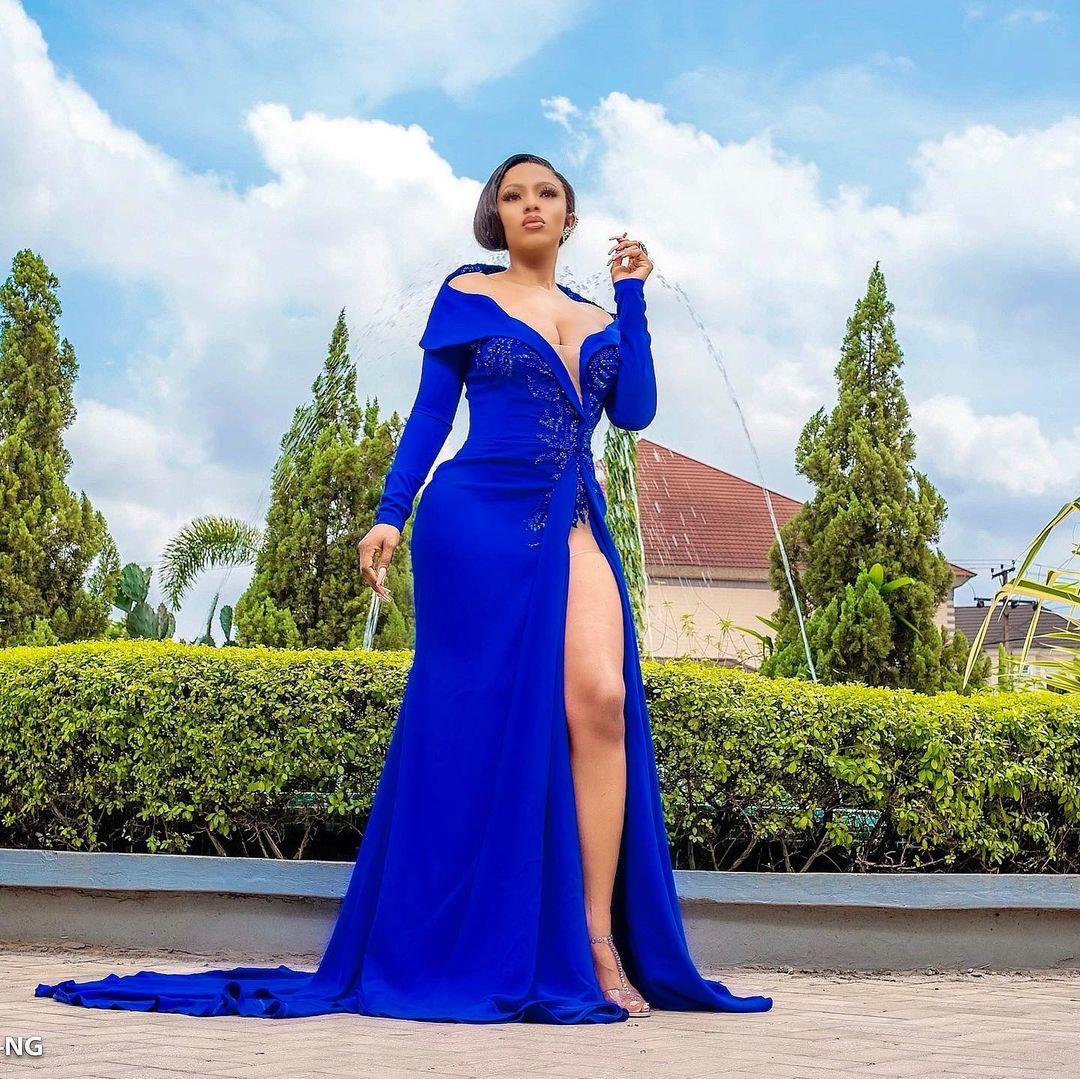 Mercy Eke Sleek Blue Gown Gets Jaw Dropping