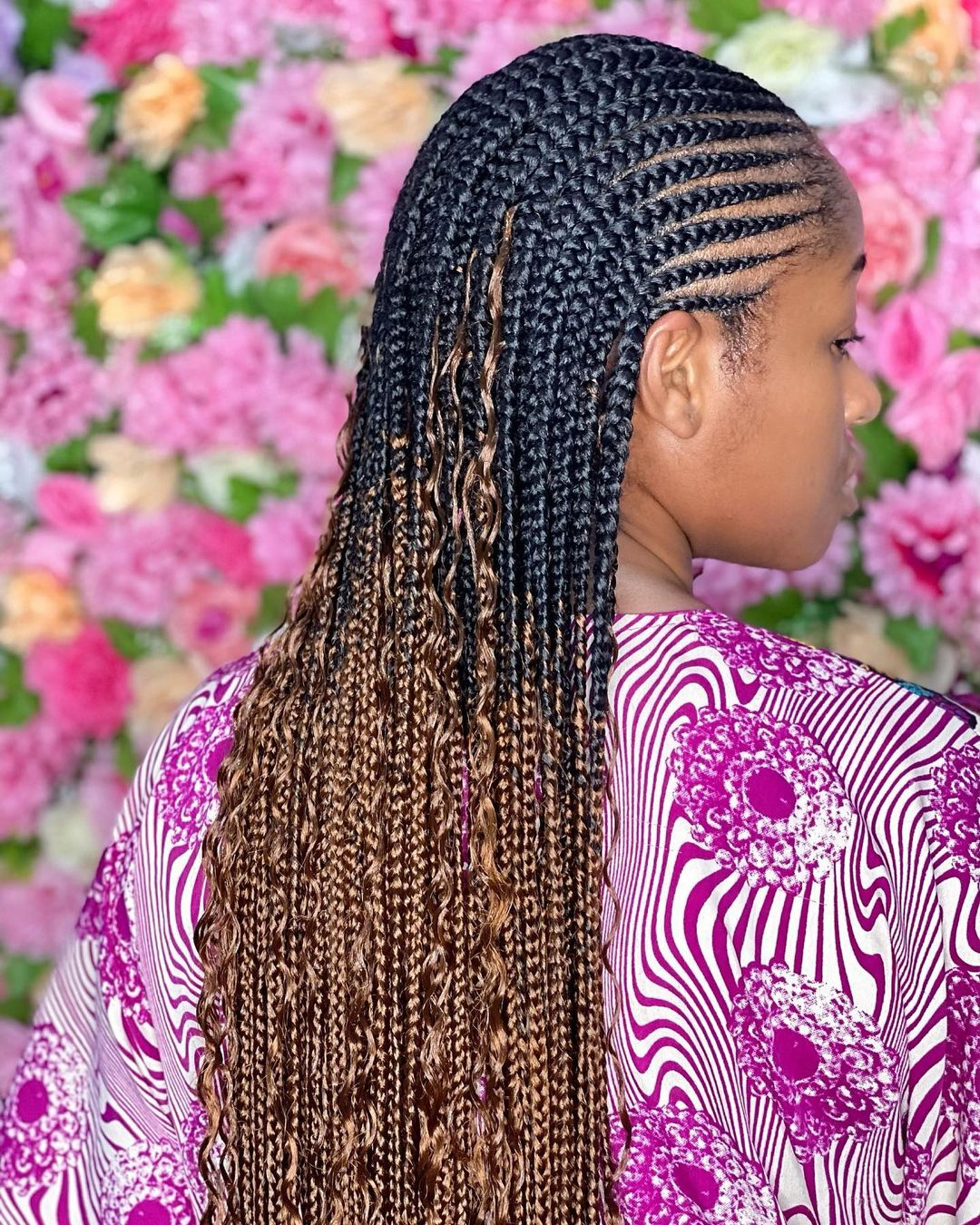 Half Cornrows With Curls