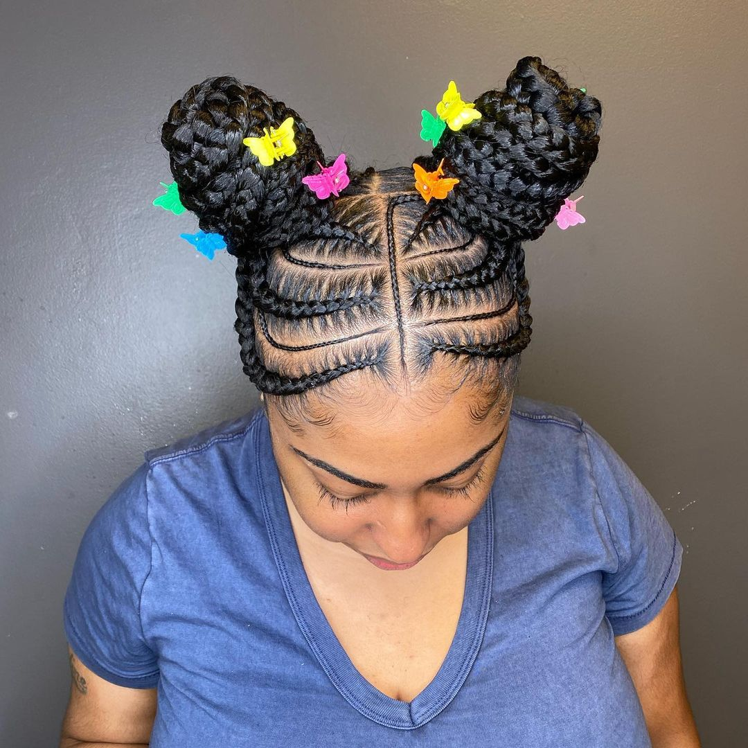 Two Bun Cornrows With Butterfly Effect