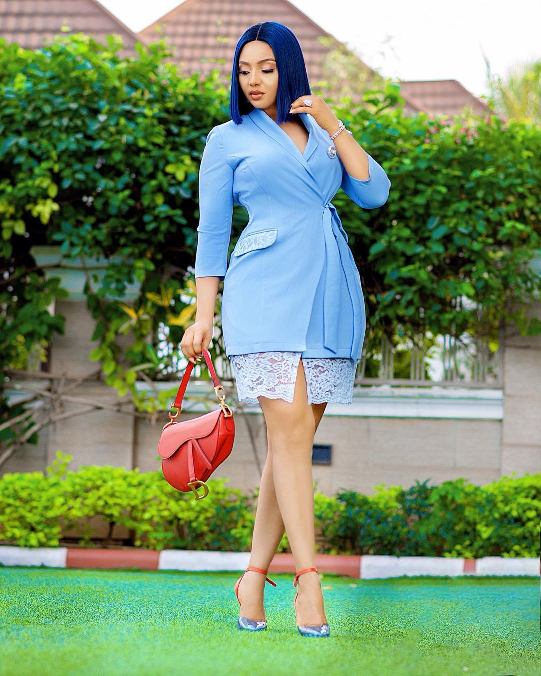 Nimi Nwofor With The Big Boss Look On Blue Lace Gown With Slit