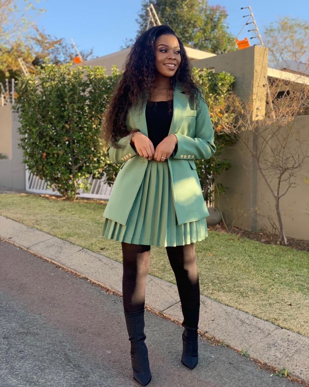 Mapaseka Looks Sophisticated On Pleated Skirt With Blazer