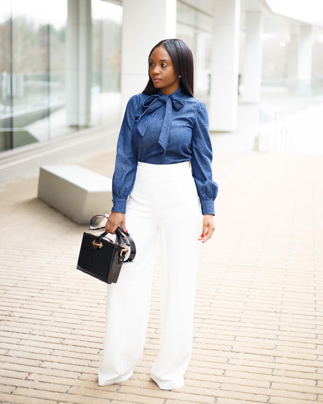 Priscilla With Bold Look On Pant Trouser With A Modern Bow Shirt