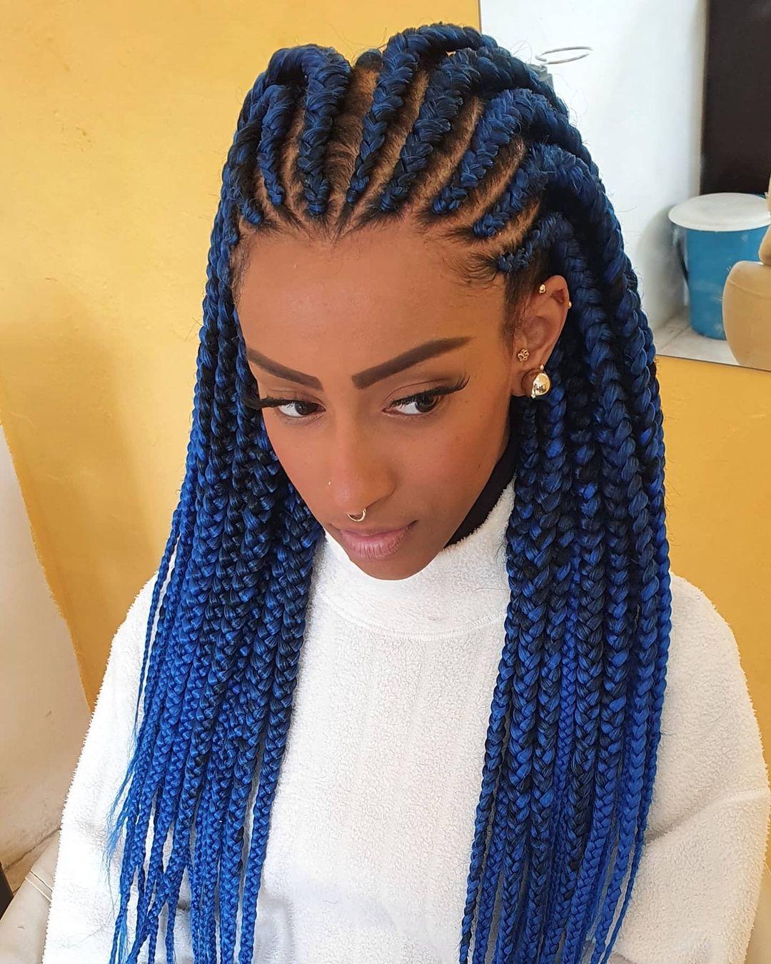 Blue Cornrows Braids
