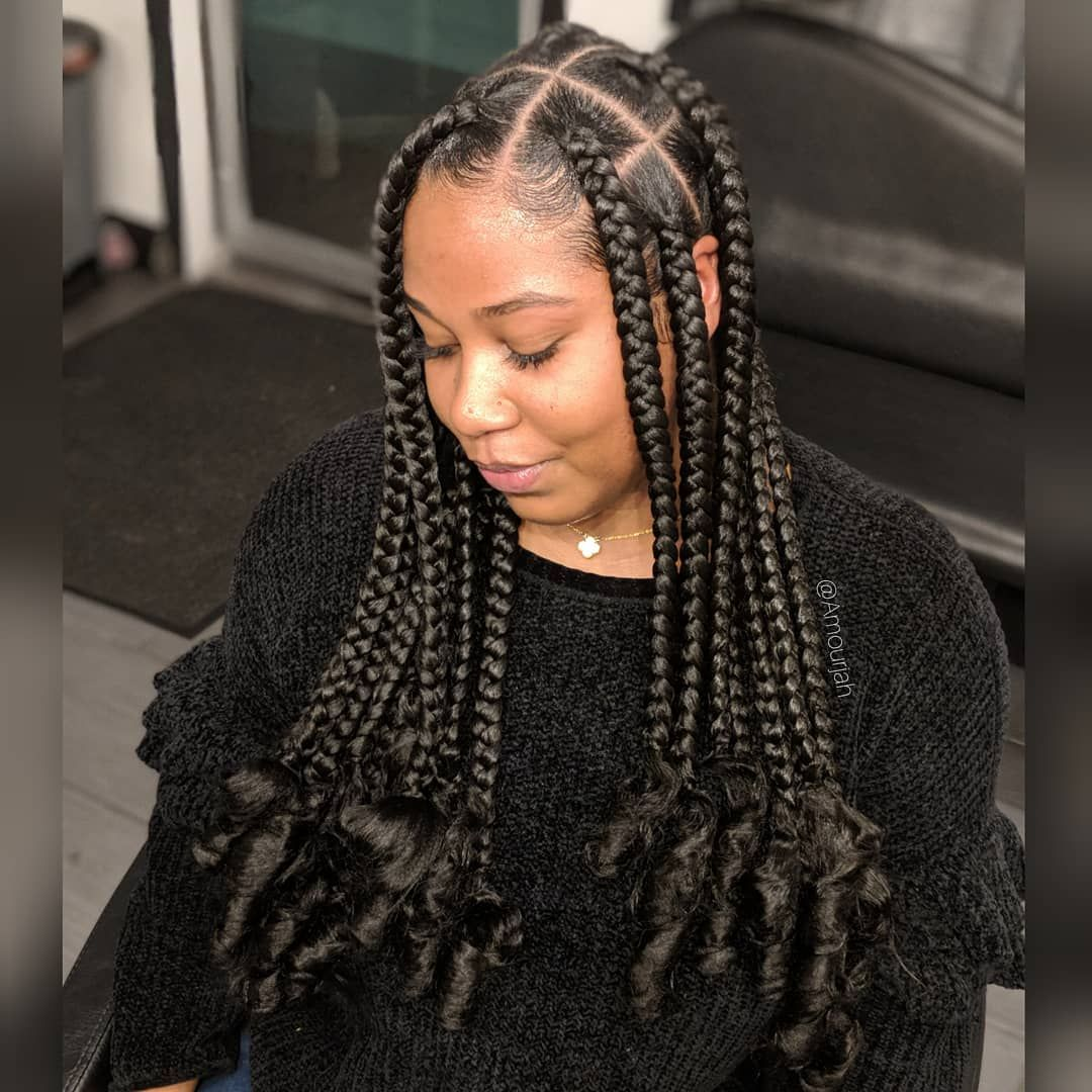 Big Box Braids with Curls