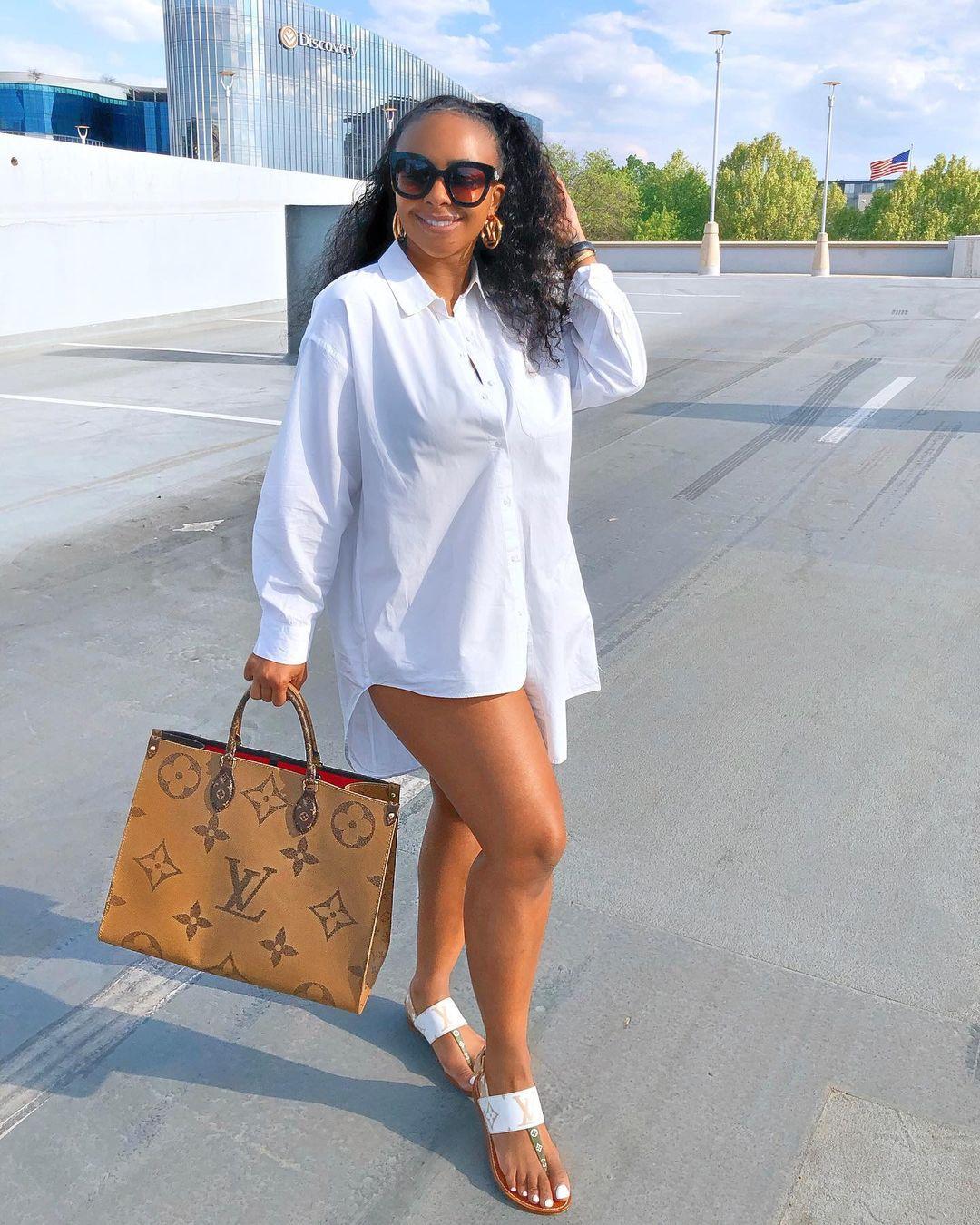 Boity On A White Shirt Dress