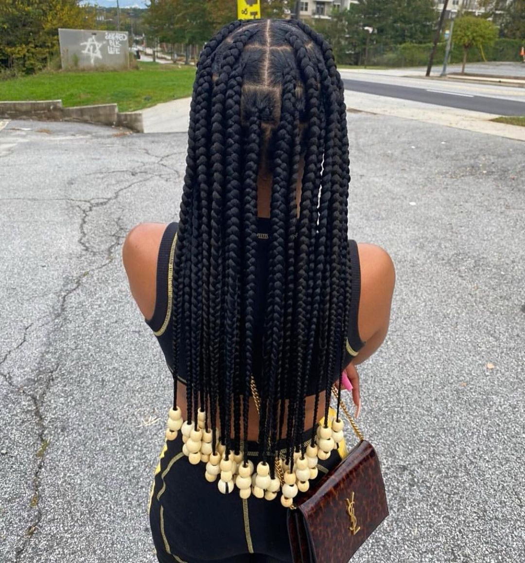 Box Braids With Beads