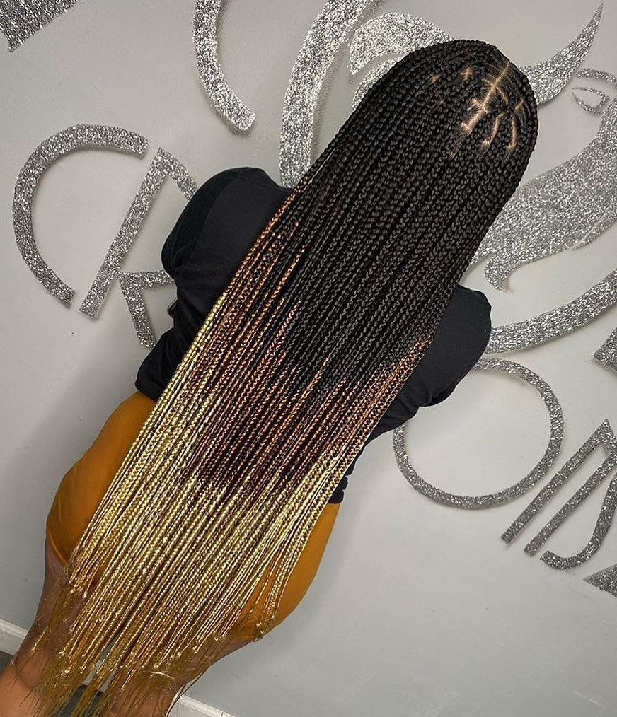 Color Mixture Ombre Knotless Braids