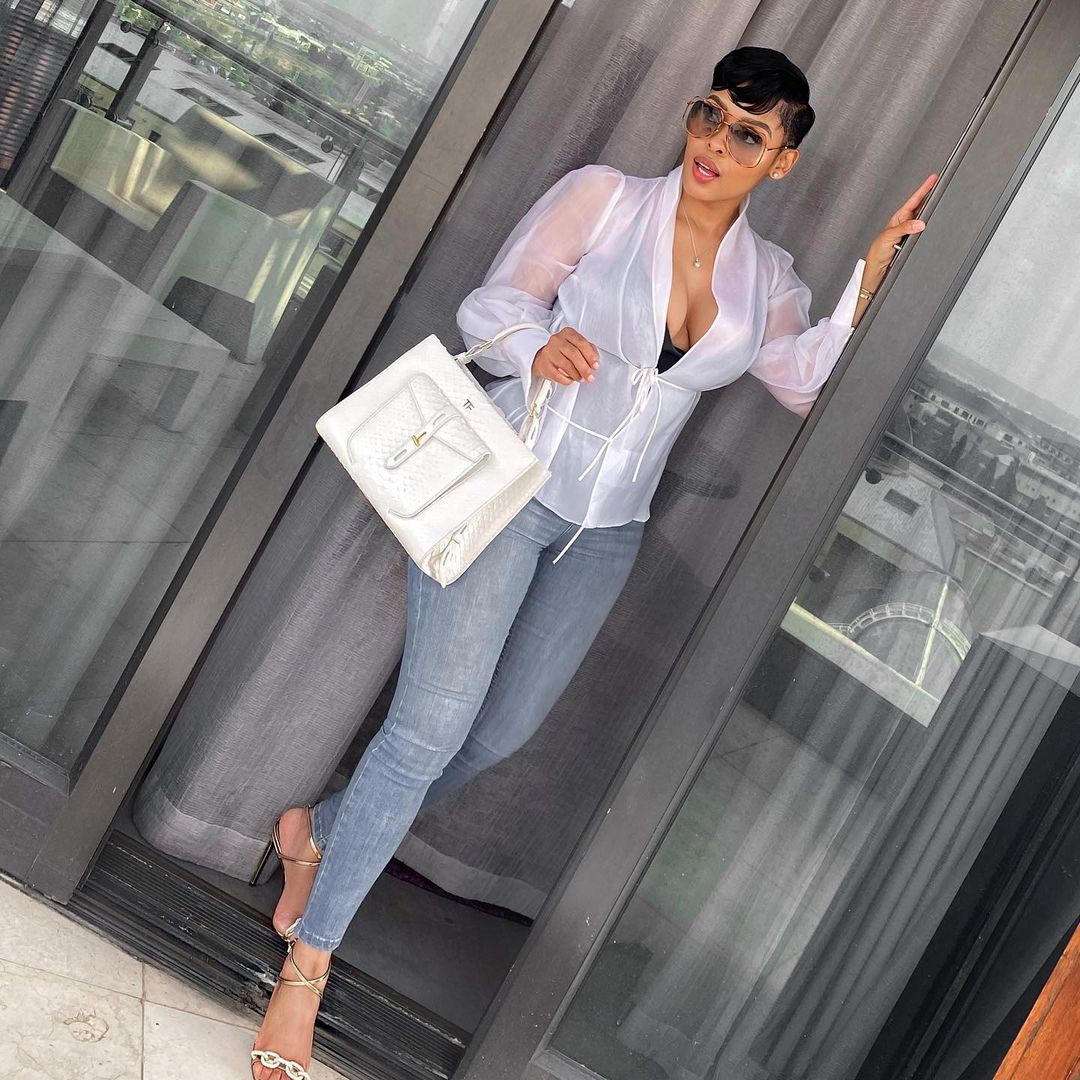 Kefilwe Mabote On A Casual White Short And A Pair Of Jeans