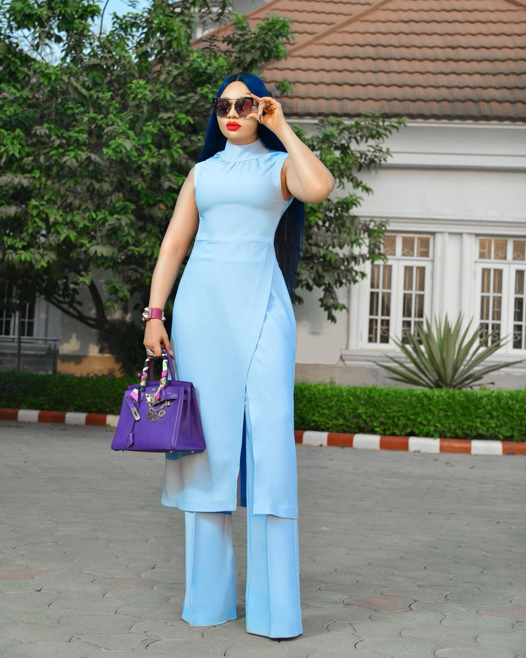 Nimi Nwofor All Stunning In Wrap Top And Pant Trouser