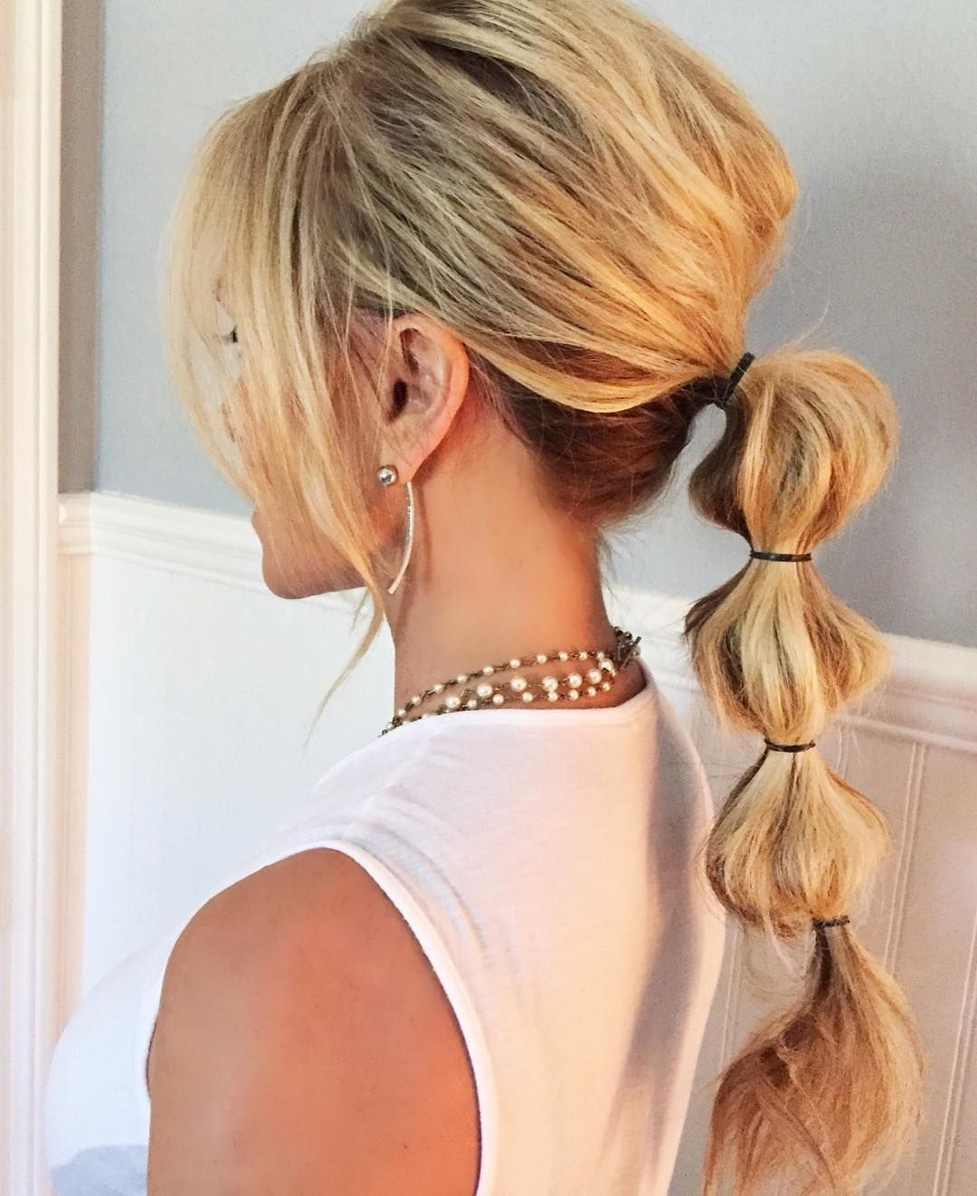 Ponytail Bubble Braid With Fringe