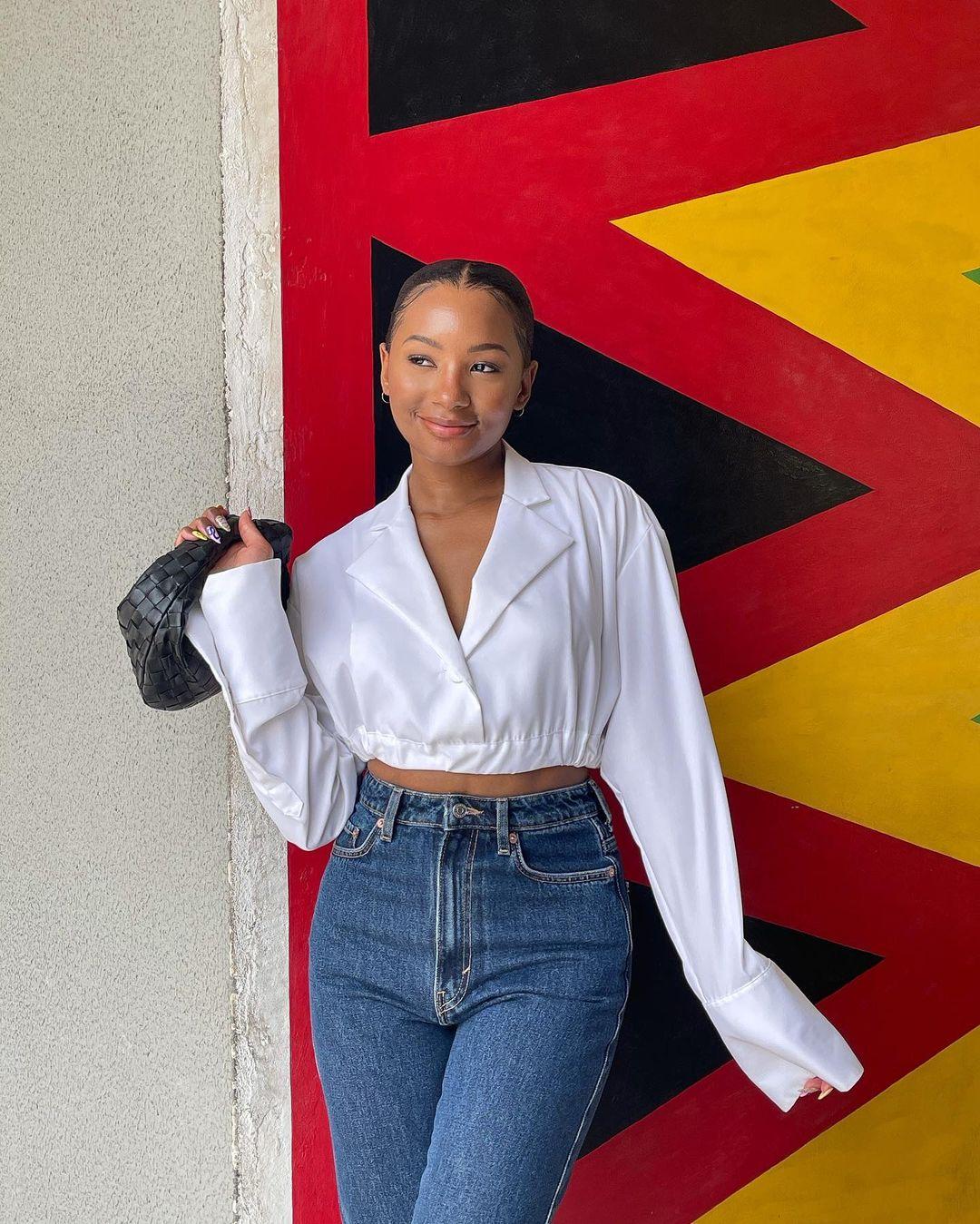 Temiloluwa Otedola Rocking A Crop Top On A Jeans Trouser