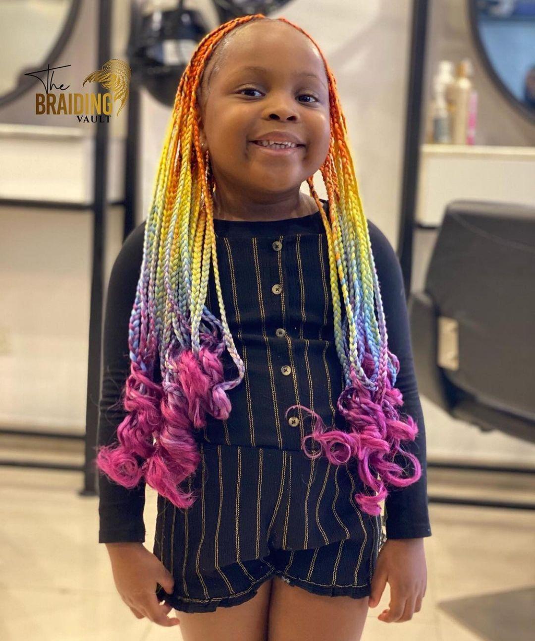 Rainbow braids for a cutie