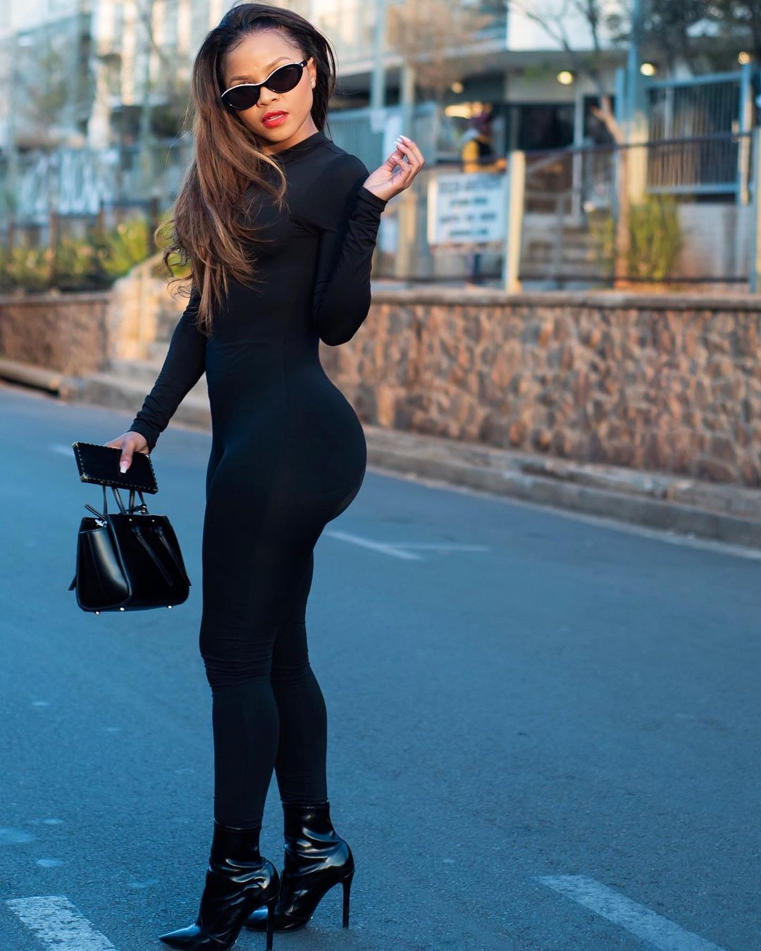 Khanya Mkangisa In An All Black Jumpsuit