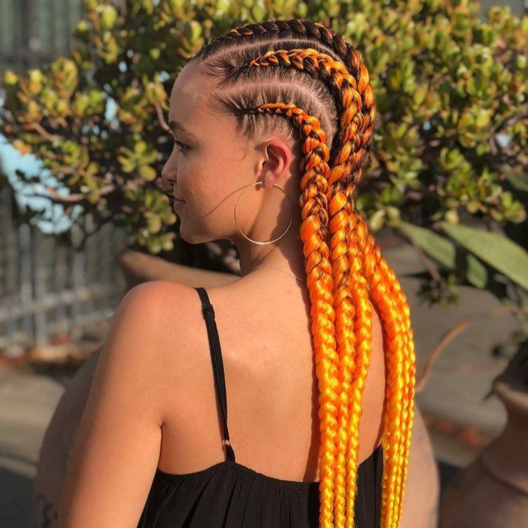 Orange Cornrow Braid