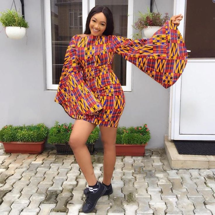 Ankara Short Gown With Bell Sleeves
