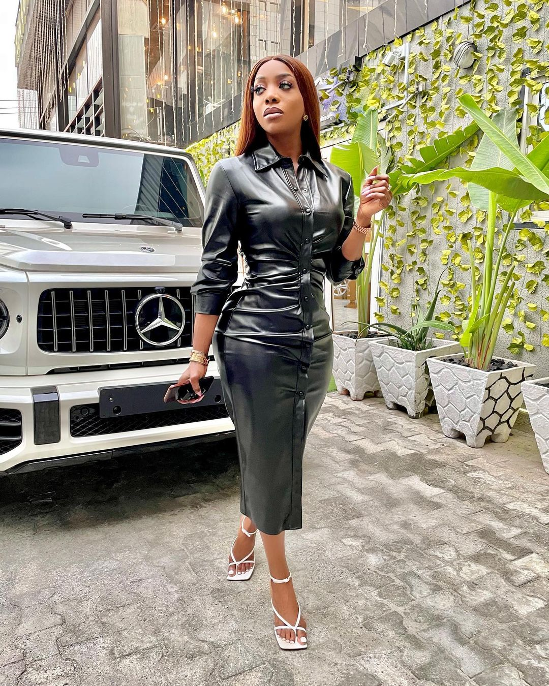 Chioma Goodhair Keep It Cool In A Leather Dress