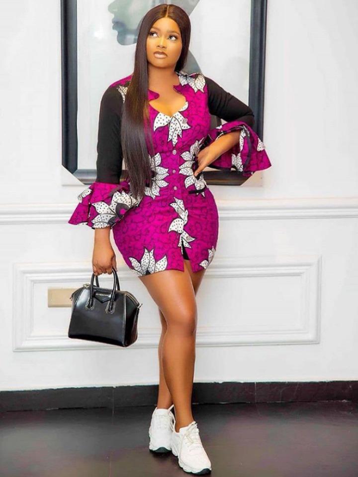 Raglan Sleeve Short Ankara Gown