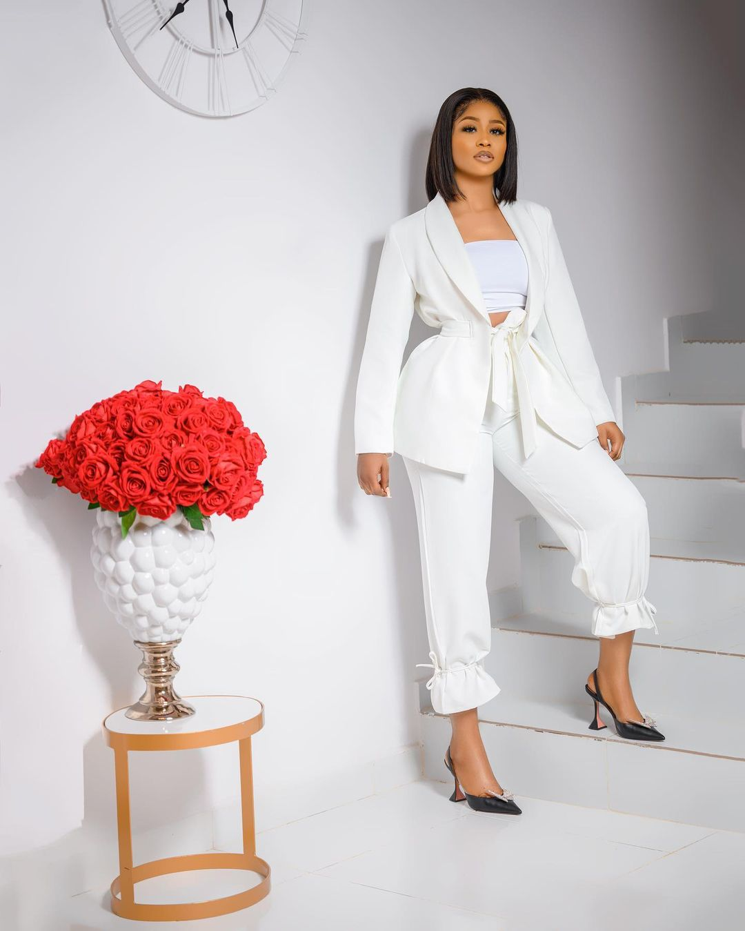 Lily Afe: All White Two Pieces Outfit With Camisole