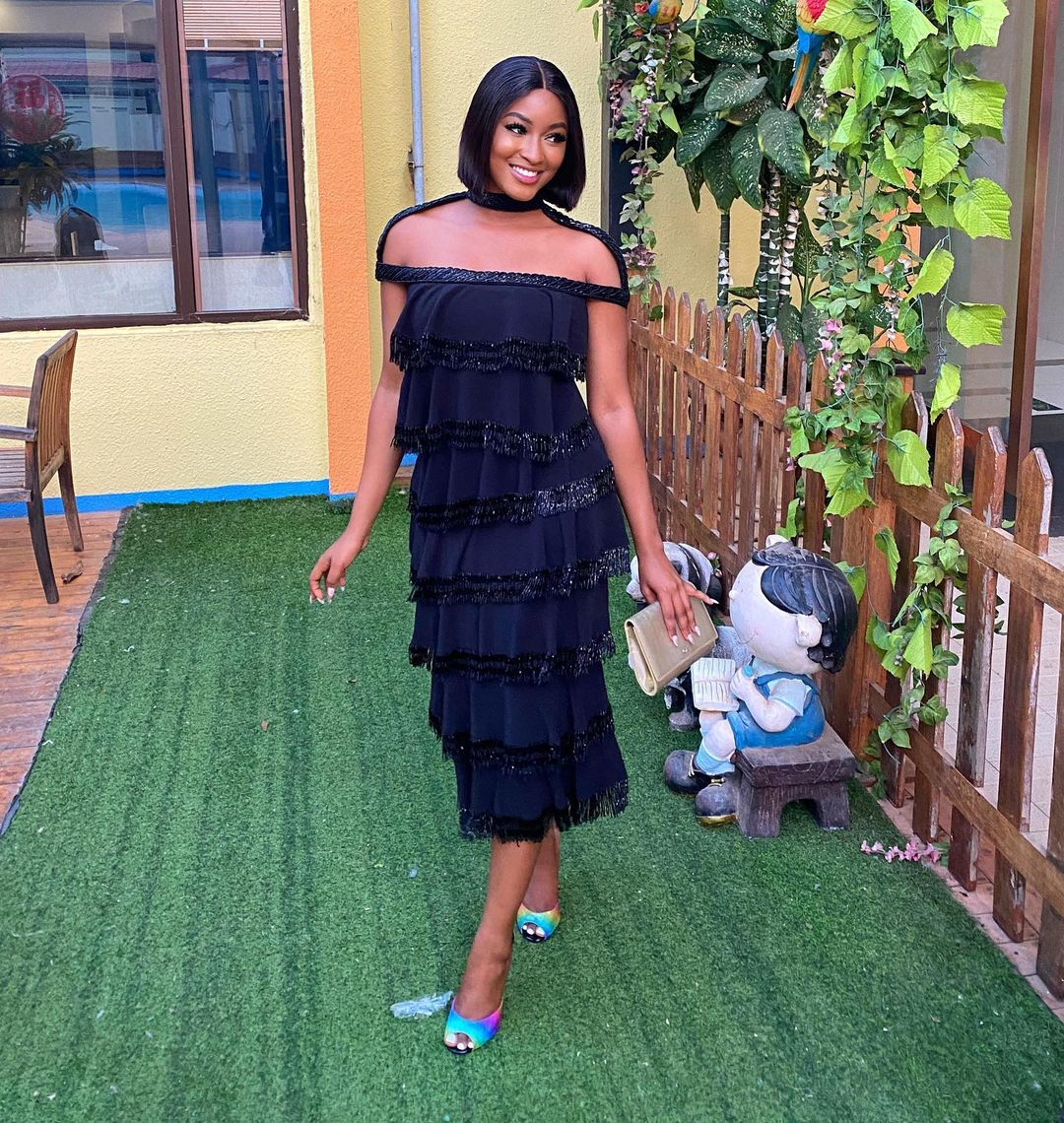 Kim Opara: Beautiful Off-Shoulder Dress