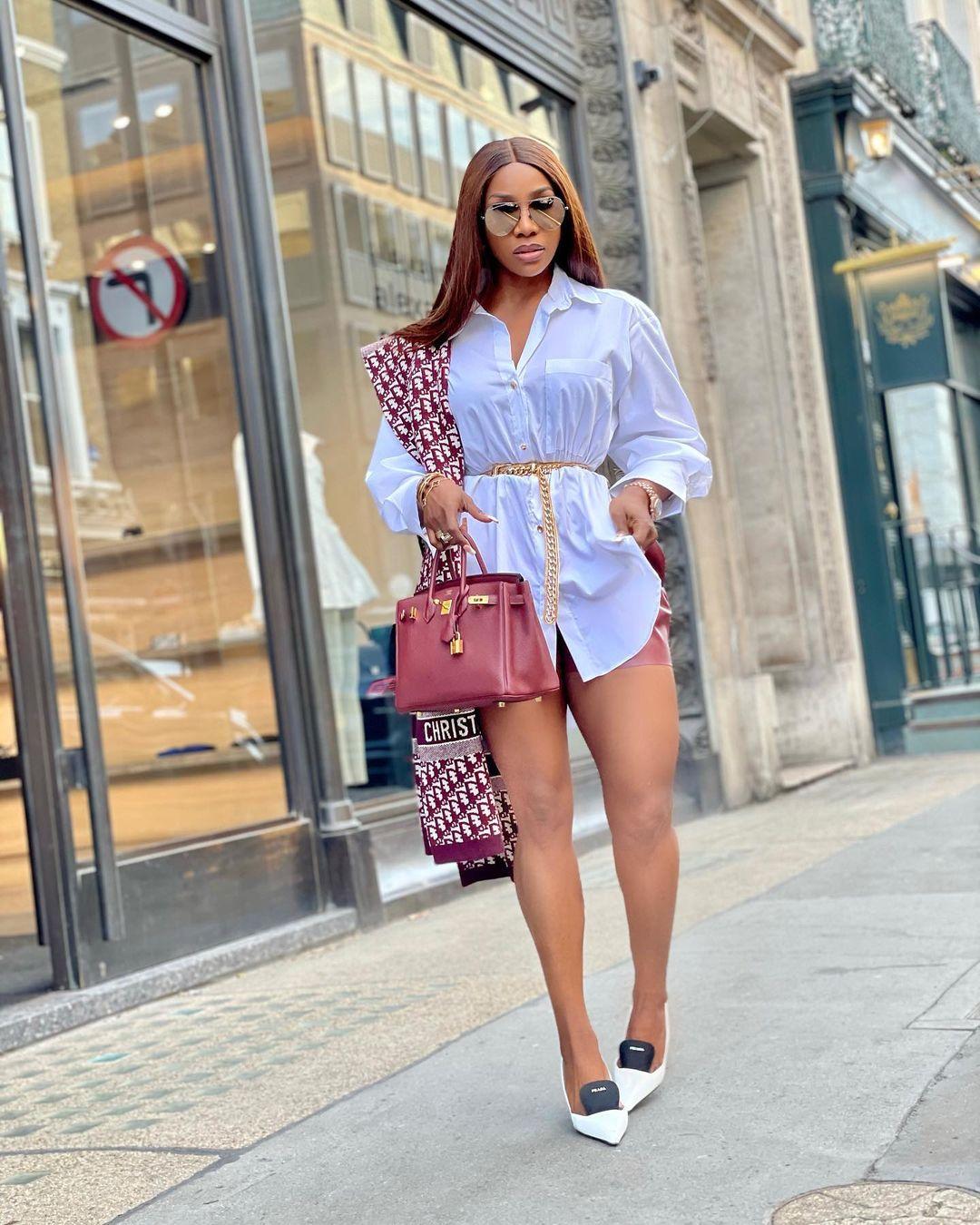 Chioma Goodhair- Looking Dashing In Shirt Dress